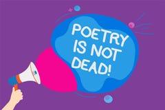 Die Schreibensanmerkung, die Poesie zeigt, ist nicht tot Das Geschäftsfoto, das ästhetisches und rhythmisches Schreiben zur Schau stock abbildung