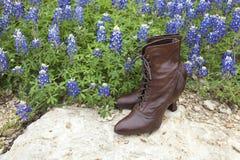 Die Schuhe der altmodischen Damen mit Texas-Bluebonnets lizenzfreies stockbild