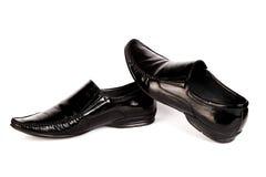 Die Schuhe des lackierten schwarzen Mannes Lizenzfreie Stockfotografie