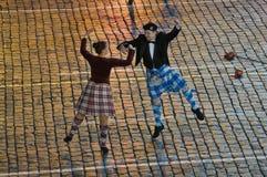Die Schule von Scottish tanzen schattige Schlucht Stockfotografie