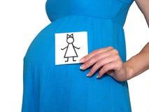 Die schwangere Frau hält die Zeichnung des Mädchens Stockbilder