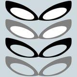 Die schwarze Maske und andere Farbe- oder weiblichegläser lizenzfreie abbildung