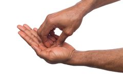 Die schwarzen Hände, die Acupressure machen, massieren, lokalisiert auf Weiß Lizenzfreie Stockbilder