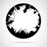 Die schwarzen Rundbürsteanschläge, gemacht von der Tinte spritzt Stockbilder