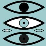 Die schwarzen verschiedenen einfachen Augen stock abbildung