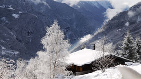 Die Schweiz-alpine Hütte stockfoto