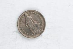 1/2 die Schweiz Franken Silber Münze 1987 Stockbilder