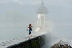 Die Schweiz, Geneca die Jet- d ` Eaus, ` Wasserstrahl-` buchstäblich bedeutend Lizenzfreies Stockbild