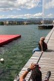 Die Schweiz, Geneca die Jet- d ` Eaus, ` Wasserstrahl-` buchstäblich bedeutend Lizenzfreie Stockbilder