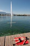 Die Schweiz, Geneca die Jet- d ` Eaus, ` Wasserstrahl-` buchstäblich bedeutend Stockbild