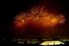 Die Schweiz-- Genf-Feuerwerke Lizenzfreie Stockbilder