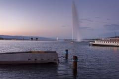Die Schweiz Genf Sunrset auf dem See Leman in der Sommerzeit Stockfoto