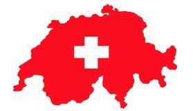 Die Schweiz-Karte und Markierungsfahne stock abbildung