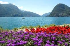 Die Schweiz-Landschaft des Sees und des Gartens Lizenzfreies Stockfoto