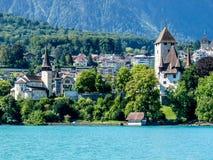 Die Schweiz, Lauterbrunnen, HÄUSER DURCH BÄUME UND GEBÄUDE AGAINS lizenzfreie stockfotos