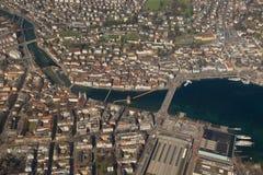 Die Schweiz-Luzerne-Kapellen-Brücken-Luzern-Stadtvogelperspektive photog Lizenzfreies Stockfoto