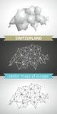 Die Schweiz-Satz Grau und polygonale Karten des Silbermosaiks 3d Lizenzfreie Stockbilder