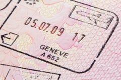 Die Schweiz-Stempel im Pass Stockfotos