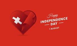 Die Schweiz-Unabhängigkeitstag 1 August Waving-Flagge im Herzen Vektor lizenzfreie abbildung