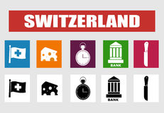 Die Schweiz-Vektorikonen Lizenzfreies Stockbild
