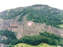 Die Schweizer Alpen in der Schweizer Flagge des Sommers brachten an einem Berghang an lizenzfreie stockbilder