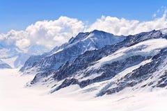 Die Schweizer Alpen am großen Aletsch Gletscher Jungfrau Stockbilder