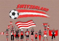 Die Schweizer Fußballfane, die mit der Schweiz zujubeln, kennzeichnen Farben herein für vektor abbildung