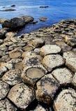 Die sechseckigen Basaltplatten von Giants-Damm eintauchend in das Meer stockbilder