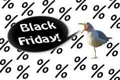 Die Seemöwe schreit 'schwarzer Freitag 'auf einem Hintergrund von den Prozenten lizenzfreies stockfoto