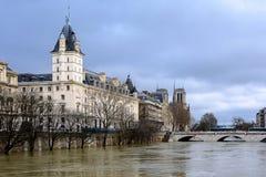 Die Seine in Paris in der Flut lizenzfreie stockfotografie
