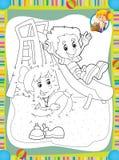Die Seite mit Übungen für Kinder - Malbuch - bilden Sie - Illustration für die Kinder Stockbilder