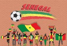 Die senegalesischen Fußballfane, die mit Senegal zujubeln, kennzeichnen Farben in Franc vektor abbildung