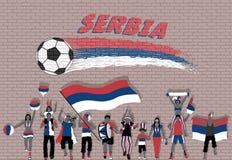 Die serbischen Fußballfane, die mit Serbien zujubeln, kennzeichnen Farben in der Front stock abbildung