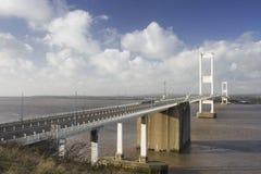Die Severn Brücke im hellen Wintersonnenschein Stockbilder