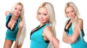 Die sexuelle Blondine in einem Kleid lizenzfreie stockbilder