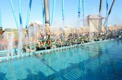 Die Shambhala-Achterbahn in Hafen Aventura-Freizeitpark Lizenzfreie Stockfotos