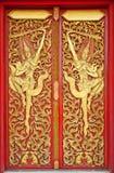 Die siamesische Zeile der siamesischen Tempeltüren Stockfoto