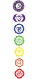 Die sieben chakras stockfotos