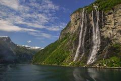 Die sieben Schwestern im geirangerfjord Stockfotos