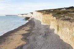 Die sieben Schwestern ist Reihen Kreideklippen durch den Ärmelkanal Sie stellen Teil Süd- Abstiege in Ost-Sussex dar lizenzfreies stockfoto