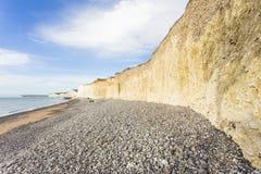 Die sieben Schwestern ist Reihen Kreideklippen durch den Ärmelkanal Sie stellen Teil Süd- Abstiege in Ost-Sussex dar lizenzfreie stockfotos