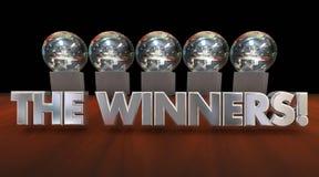 Die Sieger-Preis-Trophäen-Wettbewerbs-Mitteilung lizenzfreie abbildung