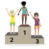 Die Siegerehrungsmedaillen die Frauenathleten auf dem Podium Mädchensieger Flache Leute der Charaktervektor-Illustration Stockbilder