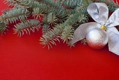 Die silberne Dekoration des neuen Jahres Lizenzfreies Stockbild
