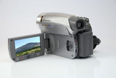 Die silberne moderne Kamera des Videos Lizenzfreies Stockbild