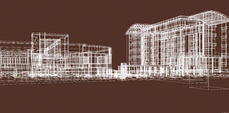 Die Skizze der Gebäude für Geschäft Stockbild