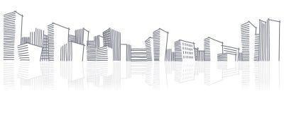 Die Skizze Stadt-Skyline Stockfotos