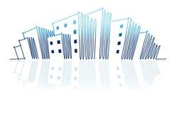 Die Skizze Stadt-Skyline Stockbilder
