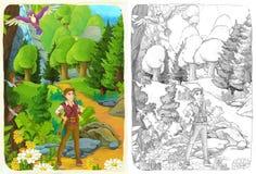 Die Skizzenfarbtonseite mit Vorschau - künstlerische Art - Illustration für die Kinder Stockbilder