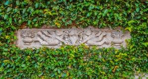 Die Skulptur im grünen Blattrahmen Lizenzfreie Stockfotos